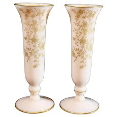 Pair of Crown Tuscan Vases Gold Encrusted Rosepoint (An Additional Pair Available)