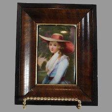 Miniature Porcelain Portrait of A Young Lady