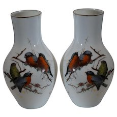 White Opalescent Hand Painted Vases