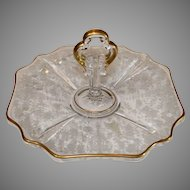 Cambridge Rose Point Gold encrusted Hors d'oeuve Tray