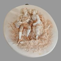 Pair of Bisque Wall Plaques Dresden Style