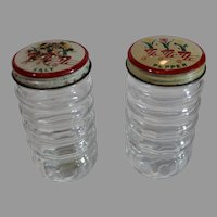 Fire King Tulip Clear Salt and pepper Shakers