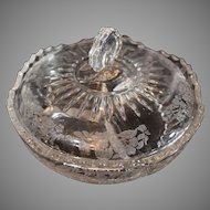 Elegant Depression Glass Divided Covered Dish