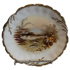Lanternier Hand Painted Fish Plate, Limoges, 1890
