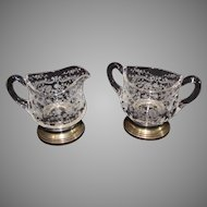 Rose Point Sugar and Creamer with Sterling Silver Bases