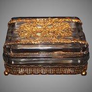 Rare Gold Plated Ormolu Fostoria Covered Box