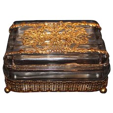 Rare Gold Plated Ormolu Fostoria Covered Box