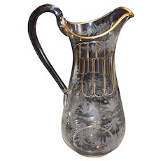 Moser Etched Crystal Water Pitcher with Gold Filler