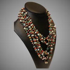 Vintage Multistrand Microstone Necklace