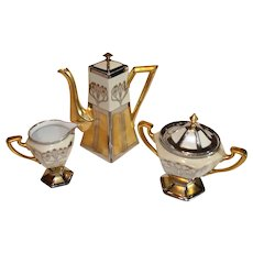 Antique Pickard Tea Pot, Sugar and Creamer, Gold and Platinum Finish 1894-1900