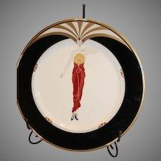 ERTE PLATE: Le Soleil Ebony Plate by Erte - 1990