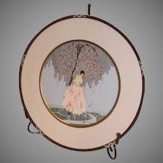 ERTE PLATE: Blossom Umbrella Portrait Plate by Erte - 1990