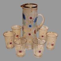 Antique Northwood Lemonade Set with 6 Tumblers 1905-15
