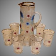Antique Northwood Lemonade Set with 6 Tumblers 1905-15