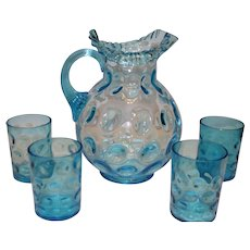 Fenton Ruffled Pitcher, Coin Dot, with 4 Tumblers
