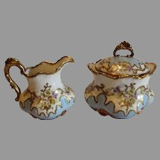 Limoges B and H Sugar and Creamer 1890