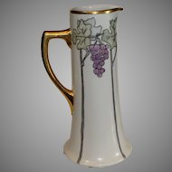 Antique Limoges Tankard with Grape Motif (Art Deco Style)