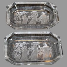 Czechosovakian Intaglio Clear Dishes - Pair - 1930s