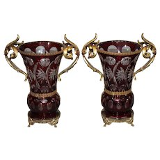 Bohemian Ruby Cut to Clear Ormolu Mantel Vases circa 1920-1930
