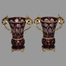 Bohemian Ruby Cut to Clear Ormolu Mantel Vases circa 1920-1930