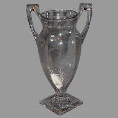 Tiffin Crystal Pressed Designed Vase with Double Handles 1930s circa