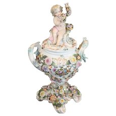Antique Sitzendorf Porcelain Covered Urn - 1887-1895