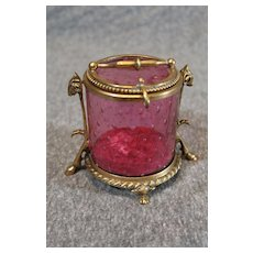 Moser Ruby Jewelry Box with Rams Head Ormolu 1890s