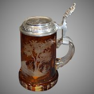 Amber Crystal Doe and Stag Stein 1983