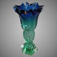 Murana Hand Blown Blue to Green Vase -1960s