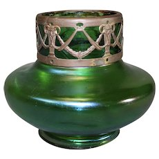 Loetz Green Vase with Ormolu Collar
