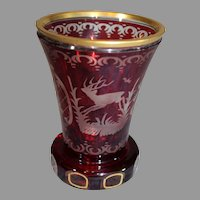 Bohemian Moser Cut Crystal Tumbler - late 1800s - Egermann Style Ruby Cut to Clear - Czech