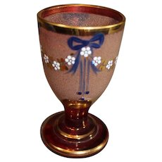 Bohemian Ruby Goblet with Blue Ribbon Swags