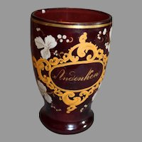 Bohemian Ruby Tumbler with Gold Cartouches