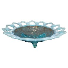 Northwood Wild Rose Blue Opalescent Footed Bowl - 1906-10