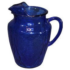 Royal Lace Cobalt Blue Hazel Atlas Water Pitcher