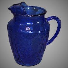 Royal Lace Cobalt Blue Hazel Atlas Water Pitcher
