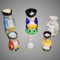 6 Vintage Japanese Miniature Toby