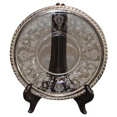 Rosepoint 9 inch plate with Sterling Silver Rim by Wallace