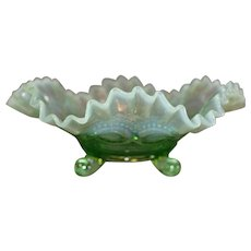 Northwood Green Opalescent Footed Bowl - late 1800s