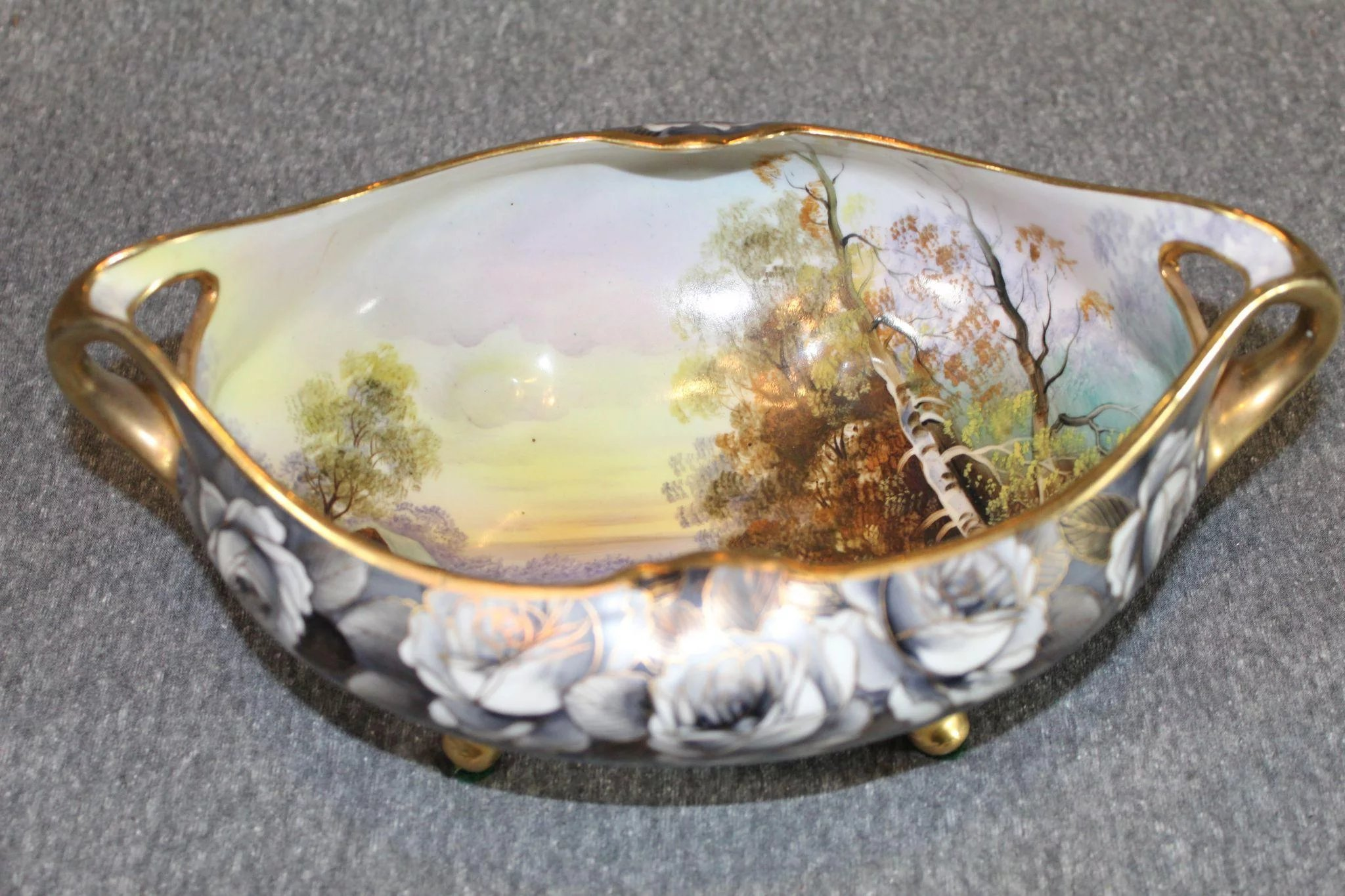Nippon Scenic Hand Painted Oval Bowl Antique Pazzaz