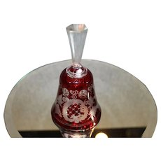 Antique Bohemian Ruby Cut to Clear Bell 1886