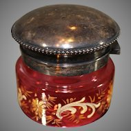 Moser Sterling Silver Lidded Ruby Box circa late 1800s