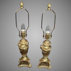 Ram's Head Metal Dresser Lamps - early 1900s