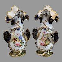 Old Paris Porcelain Mantle Vases - Hand Painted - 1800s