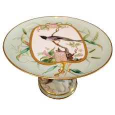 Rare Minton China Hand Painted Audubon Plate converted to Centerpiece with Bisque Base - 1872