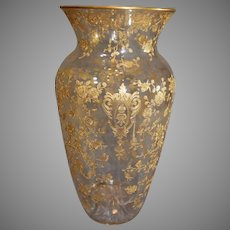 Rare Cambridge Rose Point Gold Encrusted Vase - before 1955