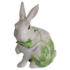 Fitz and Floyd Rabbit Ceramic Cookie Jar - Vintage 1990