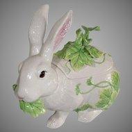 Fitz and Floyd Classic Rabbit Ceramic Tureen, Ladle - Vintage 1990s