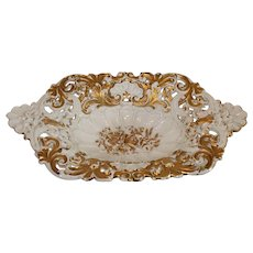 Meissen Oval/rectangular Serving Bowl with Reticulated Border - 1840-1880