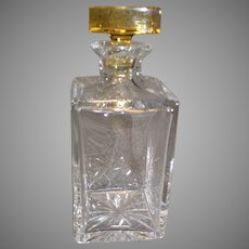 Atlantis Crystal Decanter with Amber Stopper - mid 1900s